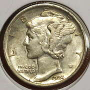 1924-d Mercury Dime, Almost Uncirculated, Better Date - Discounted   0630-07