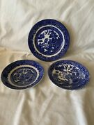 Set Of 3 Blue Willow Dishes 2 Saucer 1 Bread Plate Allerton Japan Wd Till