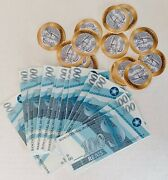 🐞 American Girl Doll Lea's Travel Money Brazilian Currency Coins Lot New