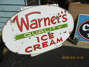 Warnerand039s Quality Ice Cream Sign Porcelain Double Sided Has Wear 20and039s-30s 3 Feet