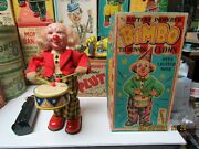 Bimbo The Drumming Clown In Box Battery Operated 50and039s Near Mint Works Alps Japan