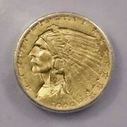 1929-p 1929 Indian Head Quarter Eagle 2.50 Icg Ms60 Details Cleaned