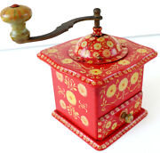 Coffee Mill Old Antique Painted Vintage Decoration Flowers Kitchen Wood Red Gelb