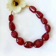 348ct African Top Quality Natural Ruby 13x18-16x22mm Plain Tumble Beads 8 1line