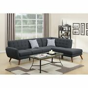 Polyfiber 2 Pieces Sectional With 2 Pillows In Dark Gray