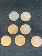 7 Piece Lot 1871 Indian Head Pennies In G To G+ Condition.