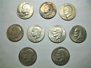 Lot Of 9 Eisenhower Dollar Coins, 1972, 1974, 1976, 1977, Free Shipping