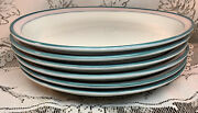 Lot Of 6 1986 Mayer Oval Dinner Plates Pink Band W/ Green And Grey Stripes Euc