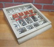 Hunt Artist Pens Old Wooden Store Display Case Glass Top With Tips Nibs
