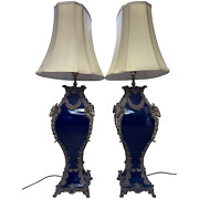 Pair 19th Century Style French Large Rams Heavy Bronze Blue Ceramic Table Lamps