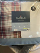 New Cuddl Duds King Comforter Red Plaid Reversible The Cozy Soft Comforter