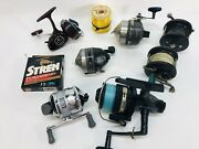 Estate Lot Of 7 Fishing Reels Penn Zebco Daiwa True Temper South Bend And Line