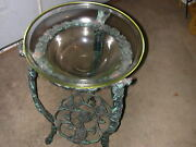 Antique/vintage Cast Iron Plant Stand With Glass Bowl Plant Holder And Shelf