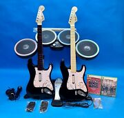 Xbox 360 Rock Band Band In A Box 2 X Fender Guitars Drums Beatles Guitar Hero