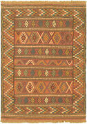 Vintage Hand Woven Carpet 3and0394 X 4and03910 Wool Kilim Area Rug