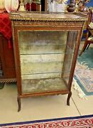 Antique Victorian Marble Top And Ormolu Vitrine Curio China Cabinet