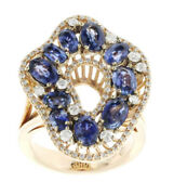 1.70ct Round Diamond 14k Solid Yellow Gold Blue Sapphire Cocktail Ring Size 7