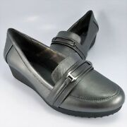 New - Easy Spirit Kepler Anti-gravity Wedge Loafer Womens Size 7m Pewter Leather