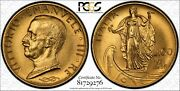 Italy 1931-r Yr. Ix 100 Lire Uncirculated Gold Coin Pcgs Certified Ms62