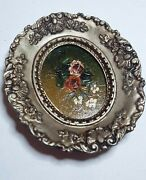 Vintage Miniature Oval Original Oil Paintings Signed In Wooden Frame