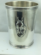 Vintage Sterling Silver Derby Mint Julep Cup By Trees With Horse Head ,no Mono