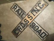 Railroad Crossing Sign Antique Cast Iron... 2 Pieces And Double-sided