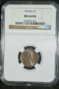 1918-d Lincoln- Ngc Ms64bn