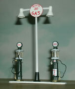 1/43 Scale Gas Station Island Diorama Custom Made With Pumps And Sign Light Pole