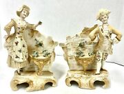 Capodimonte Style Porcelain Vases Lord Lady Floral And Gold Detail Euc Vtg Mcm