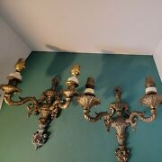 Pair Antique Solid Brass Light Wall Sconces Vintage S Shaped Holders 3