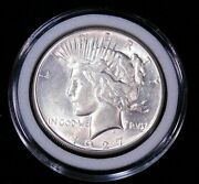 1927 P Peace Silver Dollar Au/bu White With Nice Luster In Airtight Cap Ge926