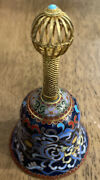 Vintage Chinese Cloisonne Enamel 4 Bell With Gilt Handle Gorgeous