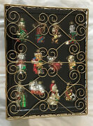 Dog And Cat Glass Pet Christmas Ornaments In Decorative Display Case Lot Of 12 New