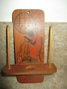Chatelaine Vintage Woman Sewing Wooden Spools Of Thread/scissors Holder-1920's