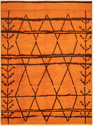 Hand-knotted Vibrance Orange Wool Rug 10and0390 X 13and0393