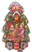 Wood Figure Carving Christmas Tree Children New Year Snowman Cat Signed Suvorov