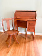 Vintage Antique Childrenand039s Wood Roll Top Desk And School Chair