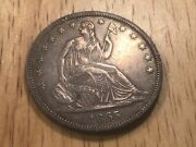 1865-s Seated Liberty Half Dollar Between Xf And Au