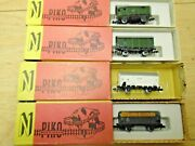 Piko German N Scale 4 Freights 3 Wagons+wood Load Gon Metal Wheels Obs Vg+deal