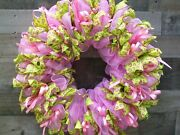 Pink And Green Deco Mesh Front Door Everyday All Occasion Wreath