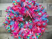 Hot Pink And Turquoise Deco Mesh Front Door Wreath With Owl Ribbon