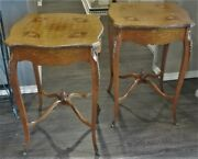 Pair Antique Vtg Louis Xv French Inlaid Marquetry Satinwood Tables Ormolu Mounts