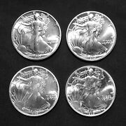 4 Coin Lot 1989 - 1 Ounce American Eagle Silver Dollars - Uncirculated - 4 Fv