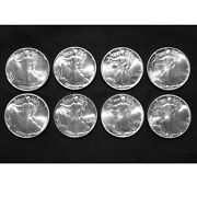 8 Coin Lot 1989 - 1 Ounce American Eagle Silver Dollars - Uncirculated - 8 Fv