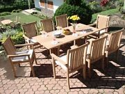 Warw 9-pc Outdoor Teak Dining 69 Console/folding Table 8 Reclining Arm Chairs