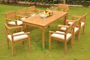 Mont 9-pc Outdoor Teak Dining Patio 83 Rectangle Table 8 Stacking Arm Chairs
