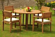 Mont 5-pc Outdoor Teak Dining 48andrdquo Butterfly Round Table 4 Stacking Arm Chairs