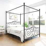 Jurmerry Metal Canopy Bed Frame With Vintage Headboard And Footboard Sturdy Slat