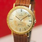 1963and039s Rare Vintage Omega Geneve Textured Case 18k Gold Manual Wind Watch