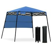 7 X 7 Ft Foldable Sland Adjustable Outdoor Portable Canopy Tent Lawn W/ Backpack